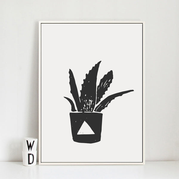 Modern Minimalist Black and White Potted Plants Canvas Painting Art Print Poster Picture Paintings Wall Home Decor BW016