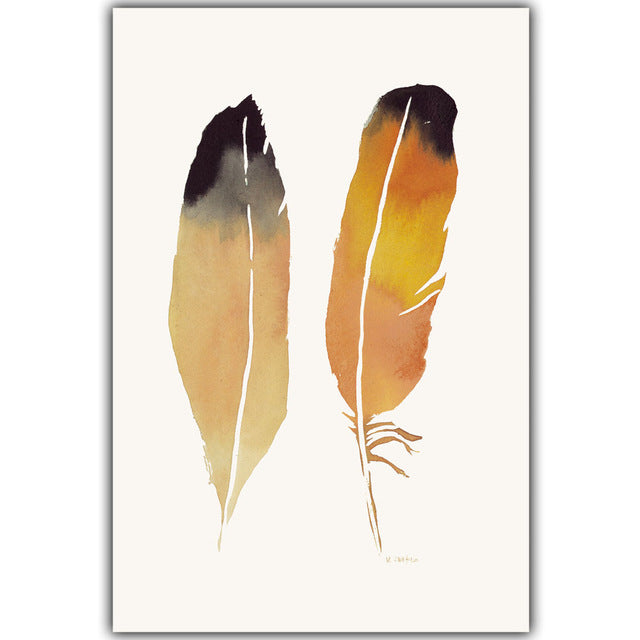 Nordic Style Watercolor Colored Feather Canvas Painting Art Print Poster Picture Wall Decoration Modern Home Deco
