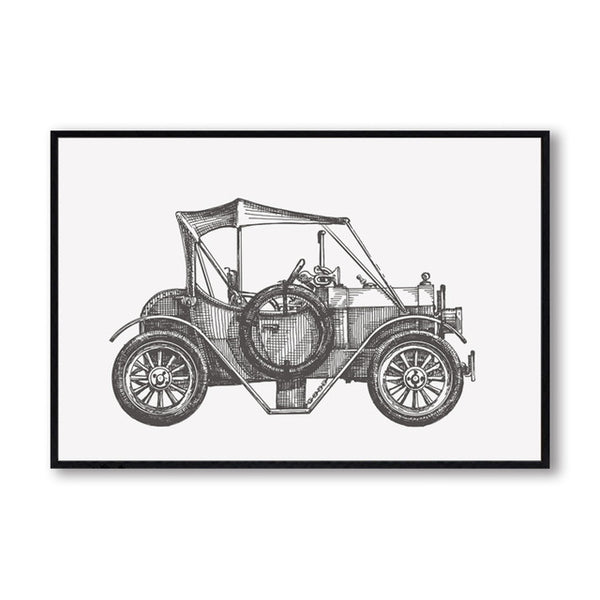 Elegant Poetry Simple Antique Black And White Car A4 Canvas Painting Art Print Poster Picture Wall Home Bedroom Decor BW001