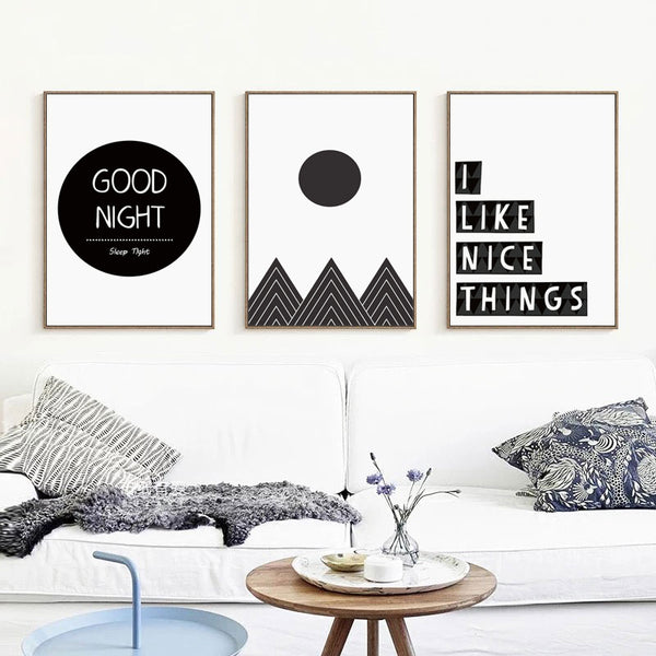 Elegant Poetry Black and White Abstract Morning Sun Rising Canvas Painting Art Print Poster Wall Paintings Home Decoration