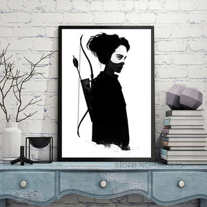 Black Hunter Art Print Wall Art Canvas Painting Nordic Poster Cuadros Decoracion Salon Wall Pictures For Living Room Unframed
