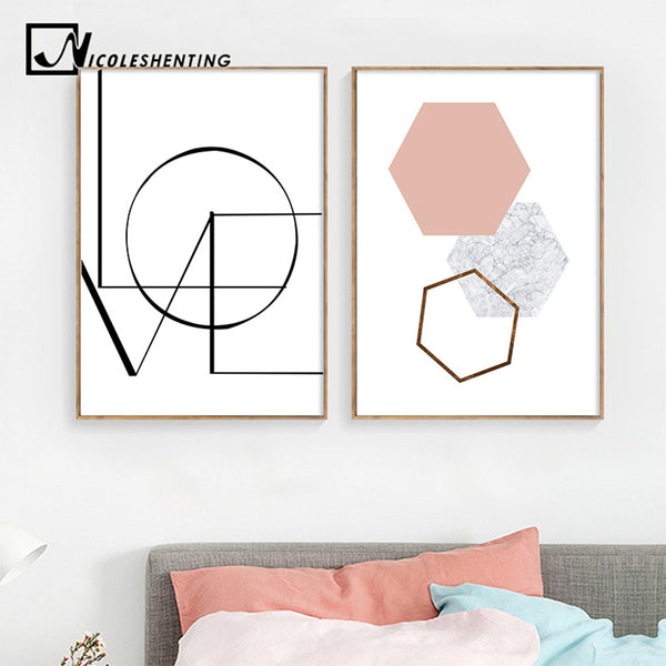 LOVE Wall Art Canvas Poster and Print Hexagon Graphic Abstract Painting Minimalist Nordic Decoration Pictures Modern Home Decor