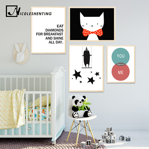 Cartoon Motivational Quote Posters and Prints Wall Art Canvas Painting Nusery Wall Picture Baby Children Living Room Home Decor