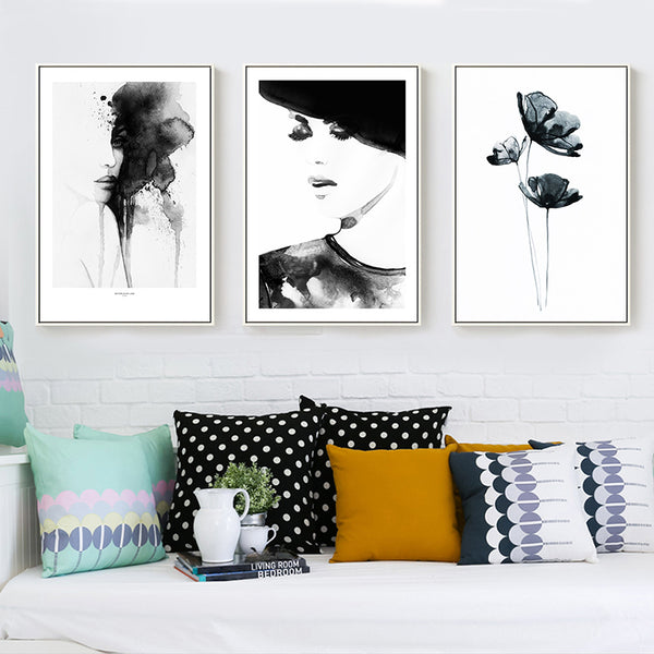 Modern New Chinese Ink Painting Abstract Woman and Lotus Flower Canvas Painting Print Poster Picture Wall Art Home Decoration