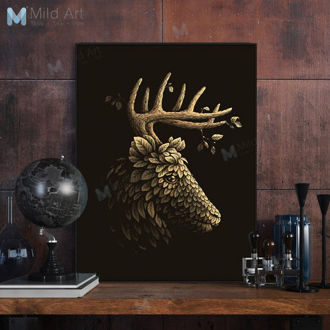 Black Vintage Abstract Gold Leaf Deer Head Posters Prints Scandinavian Living Room Wall Art Pictures Home Decor Canvas Paintings