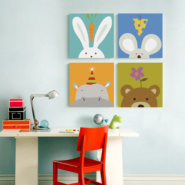 Kawaii Simple And Ideal Animal Cartoon Canvas Art Painting Print Poster Picture Wall Inspirational Child Room Decor