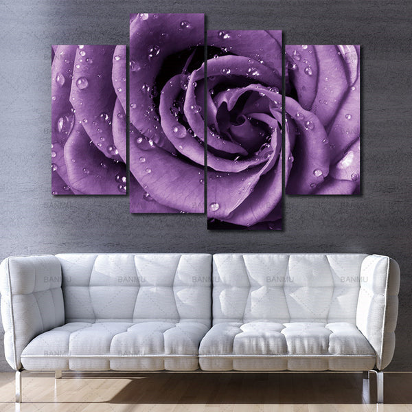 4 Pieces Wall Art Picture Canvas painting Home Decor Photo Prints Purple Roses flower  With Dew Home Office Artwork Paintings