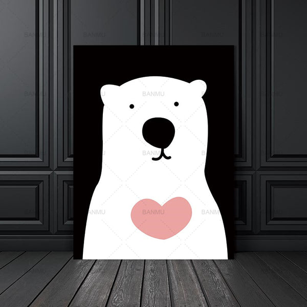 Frame  canvas painting animal cartoon wall art Picture print poster wall home decration Picture for Living Room with frame