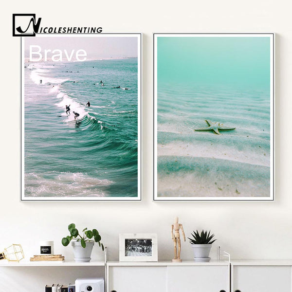 Ocean Beach Surfing Landscape Canvas Poster Motivational Quote Art Print Noridc Style Painting Wall Picture Modern Home Decor