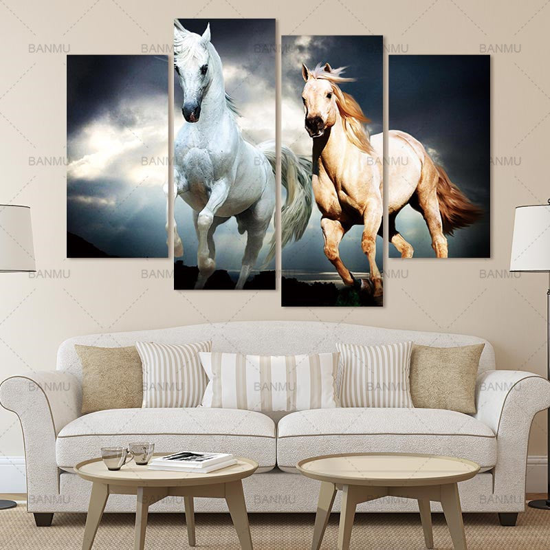 BANMU Canvas Print Painting for Room Wall Art Fine Art Canvas Painting 4pcs Large Two Horses Abstract  Oil Picture