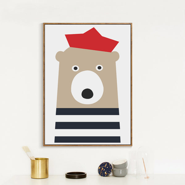 Elegant Poetry Nordic Sailor Animals Cute Cartoon Seals Bear Fish Boat Canvas Painting Art Print Poster Paintings Home Decoratio