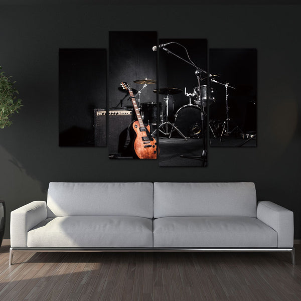 4 Panel Wall Art Painting The Music Of The Band Guitar And Shelf Drum Picture On Canvas For Living Room Decor Or As A Gift
