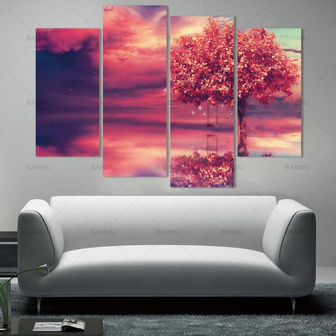 Art wall picture red tree Canvas Painting abstract  Wall Art Pictures Beautiful scenery decor prints on canvas poster painting