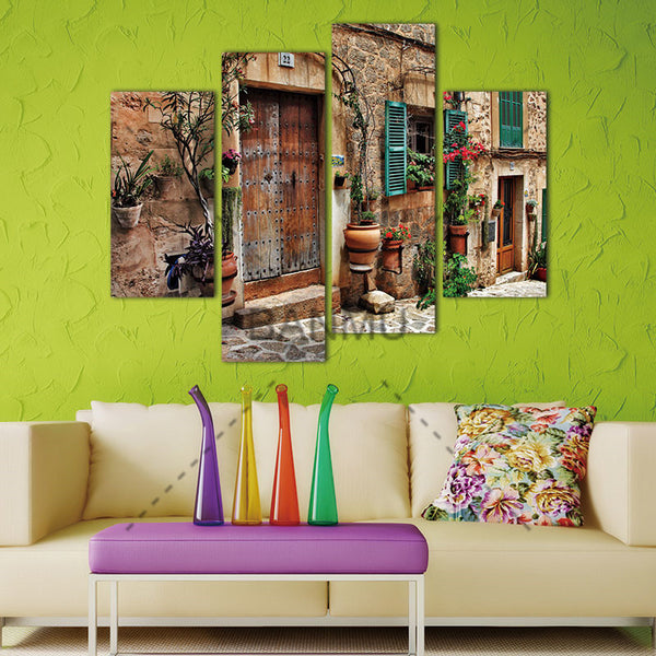 4 Panel Wall Art Streets Of Old Mediterranean Towns Flower Door Windows Painting On Canvas Architecture Pictures For Home Decor