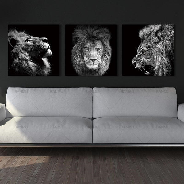 Animal lion  art prints Wall Art PicturesCanvas Painting sea wave abstract canvas poster painting decoration for living room art