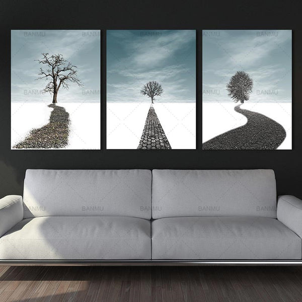 canvas painting tree and road  poster Picture wall art home Decorative Picture for Living Room posters and prints on the canvas