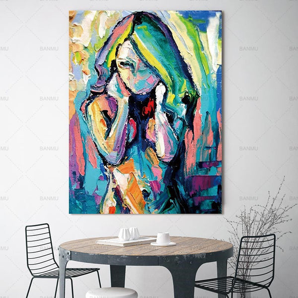 Wall art home decor painting canvas Picture wall art abstract canvas painting portrait prints  picuture art poster and print