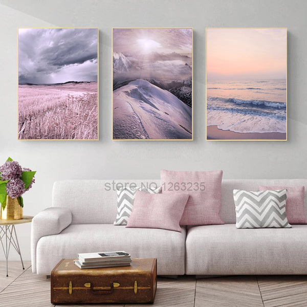 Nordic Poster Pink Snow Mountain Wall Art Canvas Painting Sky Cuadros Quadro Seawater Wall Pictures For Living Room Unframed