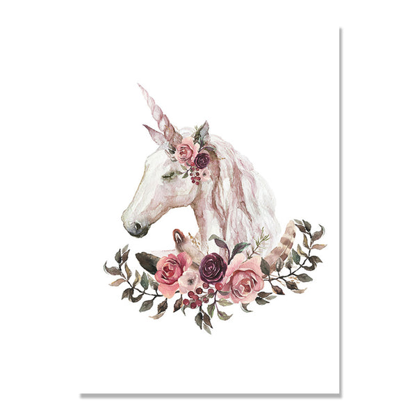 Unicorn Poster Flowers Picture Cuadros Decoracion Home Posters Wall Art Canvas Painting Nordic Poster Wall Decor Unframed