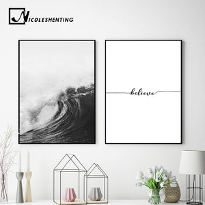 Black White Ocean Waves Canvas Nordic Posters Prints Sea Landscape Scandinavian Wall Art Painting Wall Pictures for Living Room