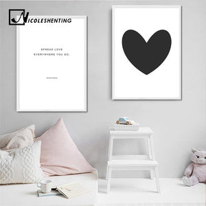 Black White Heart Canvas Nursery Posters and Prints Minimalist Wall Art Painting Nordic Decoration Pictures Modern Home Decor