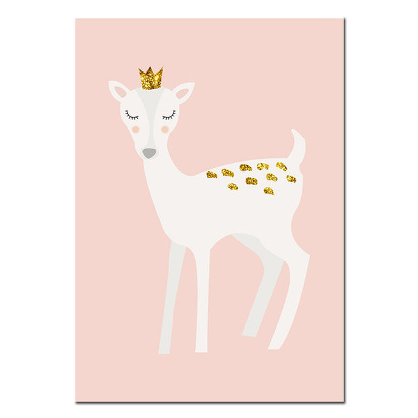 Custom Name Poster Baby Girl Nursery Wall Art Canvas Painting Cartoon Deer Print Nordic Kids Decoration Picture Bedroom Decor