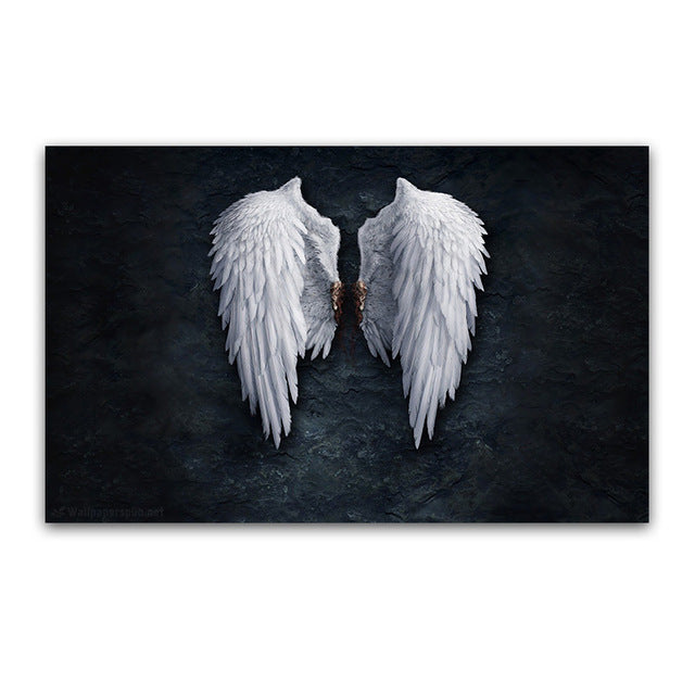 Modern Black White Design Feather Angel Wings Art Print Poster On Canvas Wall Pictures For Living Room Decoration No Frame