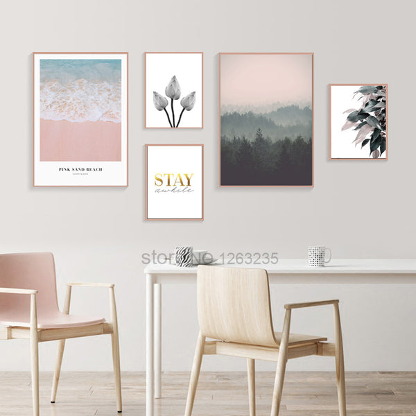 Pink Plage Sea Nordic Poster Leaf Wall Art Canvas Painting Forest Cuadros Decor Wall Pictures For Living Room Lotus Unframed