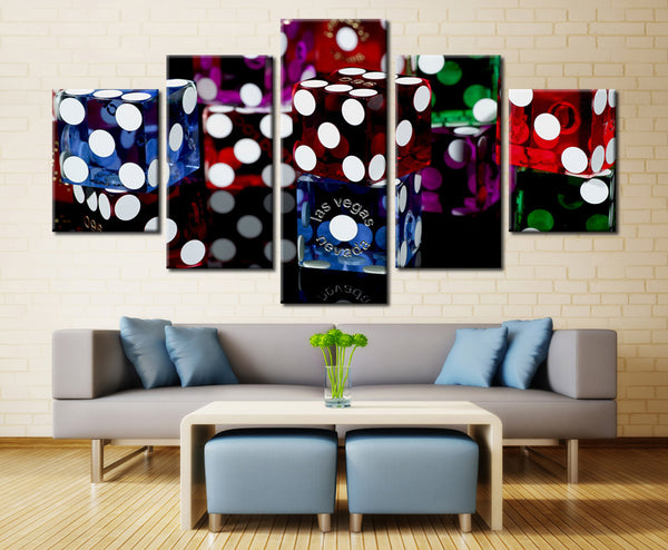 5 Piece Movie Poster Las Vegas Dice Casinos Painting Canvas Wall Art Picture Home Decor Living Room Canvas Print Modern Painting