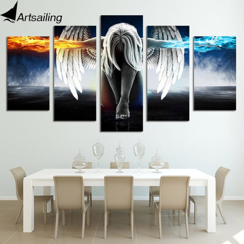 ArtSailing 5 Piece canvas Angeles Girls Anime Demons Paintings Modular Canvas Print home Decoration Print Poster Picture up-874