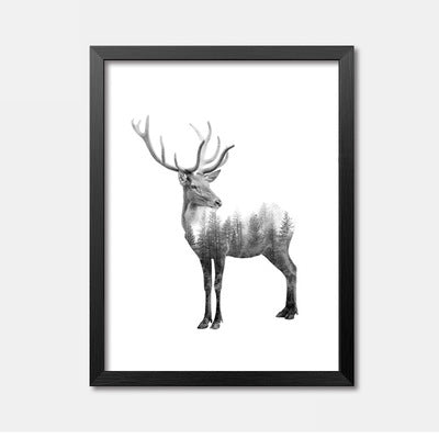 Wall Pictures For Living Room Posters And Prints Cuadros Black Deer Wall Art Canvas Painting Grey Forest Nordic Poster Unframed