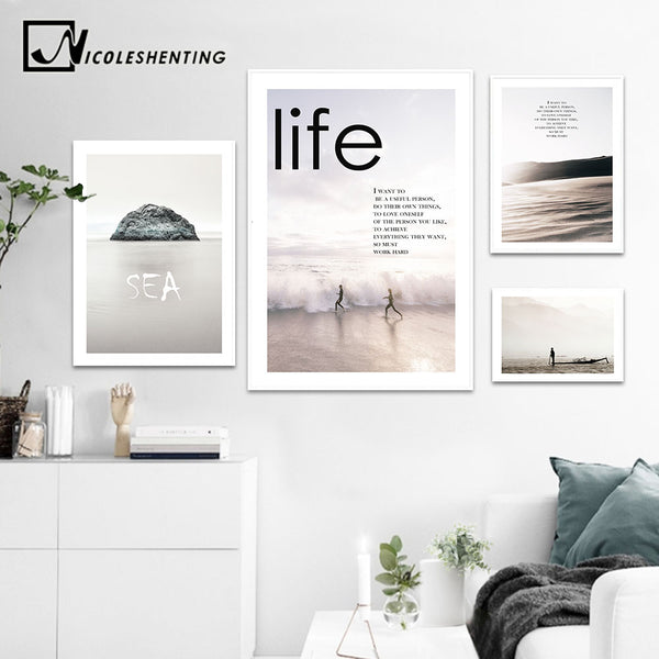 Nordic Style Motivational Posters and Prints Life Quote Wall Art Canvas Painting Wall Picture for Living Room Modern Home Decor