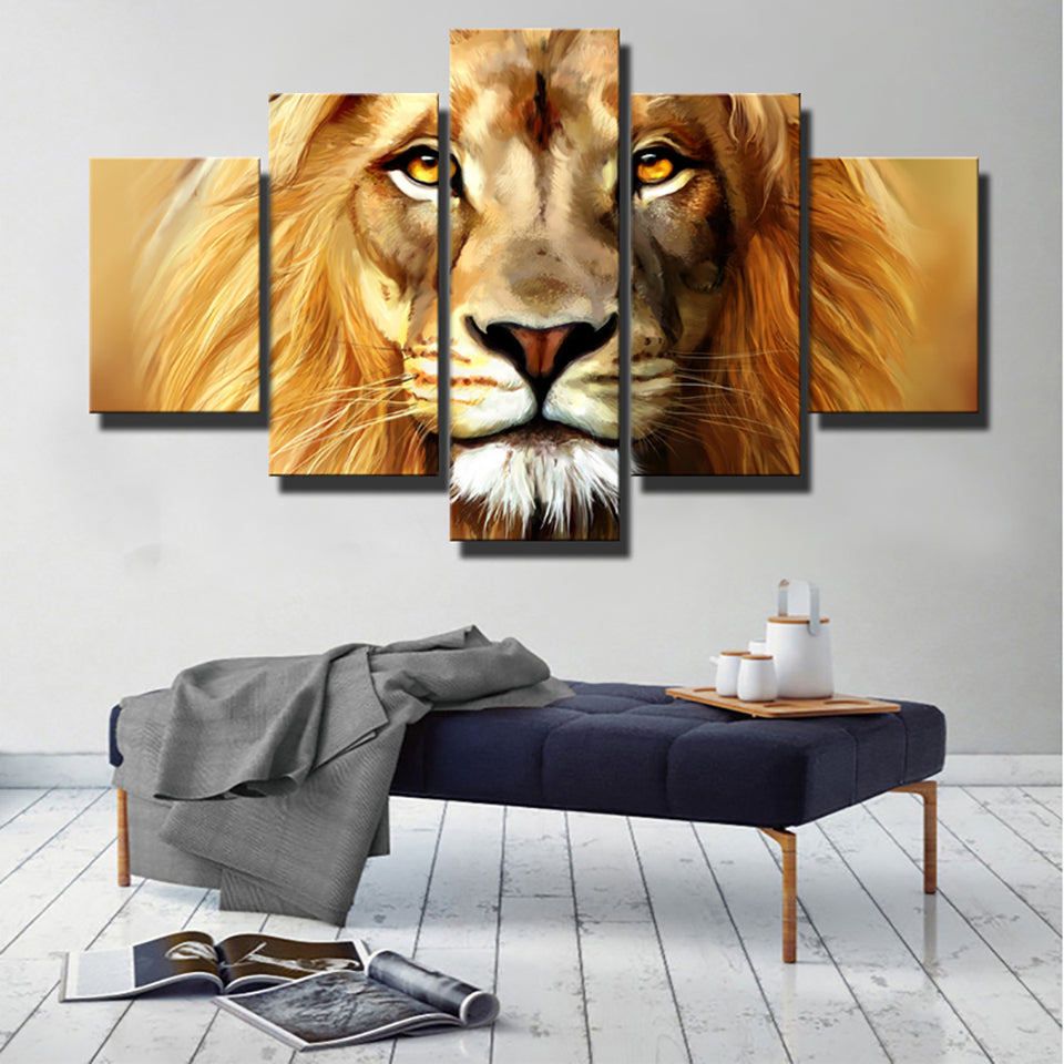 Modern Pictures HD Printed Painting On Canvas 5 Piece/Pcs African Lion Animal Home Decor Poster Framework Living Room Wall Art