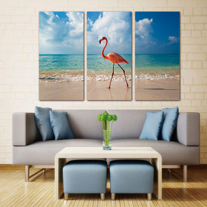 3 Panel Wall Art Painting Flamingo Walking In Beach Pictures Prints On Canvas Animal The Picture Decor Oil For Home  Print