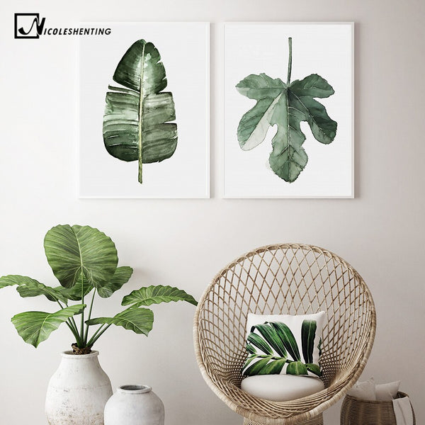 Watercolor Plant Leaves Poster Print Wall Art Canvas Painting Nordic Style Picture for Living Room Home Decor Cactus Decoration