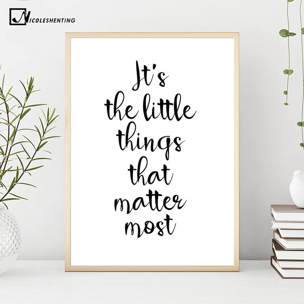 NICOLESHENTING Smile Simple Quote Motivational Poster Prints Black White Wall Art Canvas Painting Education Picture Home Decor