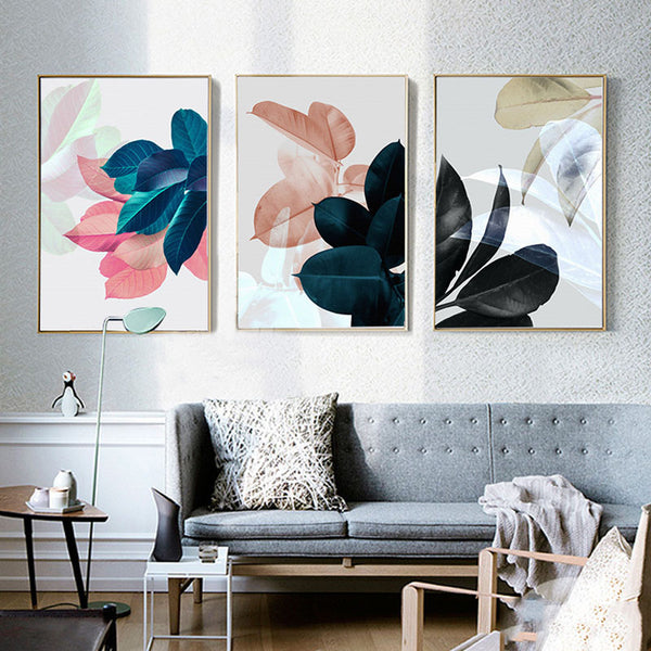 Abstract Plants Colorful Leaves Wall Art Canvas Painting Picture Nordic Poster Wall Pictures For Living Room Cuadros Unframed