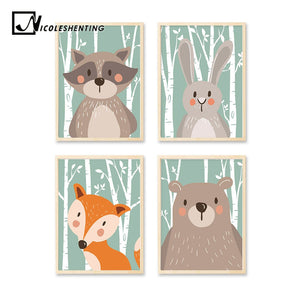 Woodland Animal Rabbit Bear Fox Minimalist Art Canvas Poster Painting Nursery Picture Print Modern Home Children Room Decor