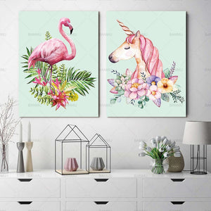 Nordic painting canvas wall art Flamingo Art Pictures poster decoration for living room prints on canvas no frame