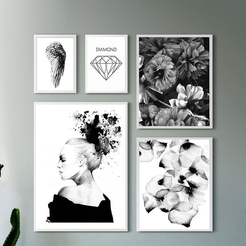 Abstract Grey Black Wing Girl Posters And Prints Nordic Poster Wall Art Canvas Painting Wall Pictures For Living Room Unframed