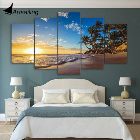 ArtSailing 5 piece canvas art HD print sunset tropical beach palm tree paintings for living room wall free shipping UP-1831C