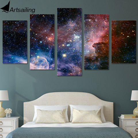ArtSailing HD 5 piece canvas Printed space galaxy canvas wall art Painting Canvas room framed canvas Free shipping/ny-6158A