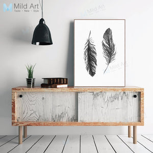 Black White Minimalist Vintage Retro Feather Poster Nordic Living Room Wall Art Print Picture Home Deco Canvas Painting No Frame