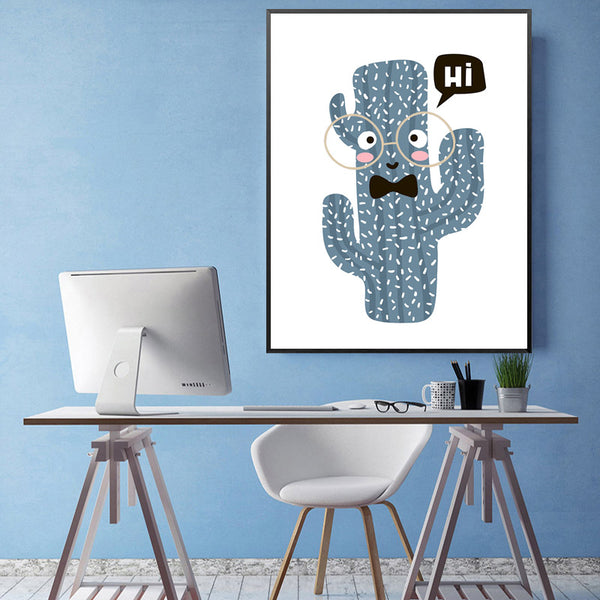 Gentleman Cactus Cartoon Nordic Poster Wall Art Canvas Painting Posters And Prints Wall Pictures For Living Room Unframed