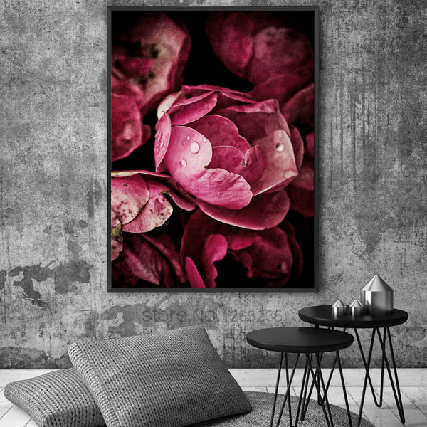 Black Red Rose Cuadros Decoracion Salon Picture Nordic Poster Wall Decor Wall Art Canvas Painting Quadro Posters Peony Unframed