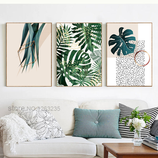 Green Plants Nordic Poster Wall Art Canvas Painting Posters And Prints Abstract Leaf Wall Pictures For Living Room Unframed