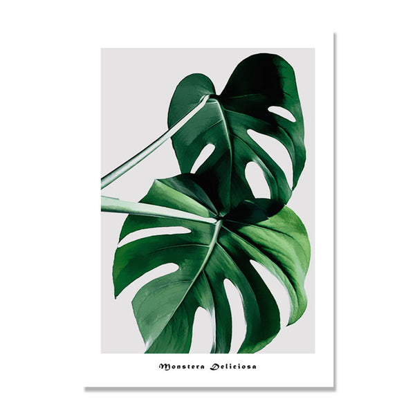Turtle Leaf Dark Green Plants Nordic Poster Wall Art Canvas Painting Wall Pictures For Living Room Cuadros Decoracion Unframed