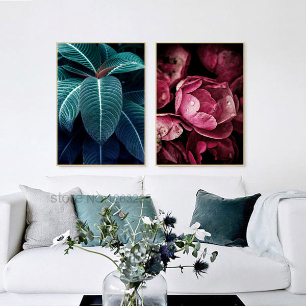 Dark Green Leaf Red Black Rose Cuadros Decoracion Flower Wall Art Canvas Painting Nordic Poster Wall Decor Picture Unframed