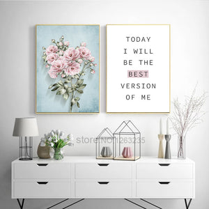 Pink Classical Flowers Nordic Poster Cuadros Wall Pictures For Living Room Posters And Prints Wall Art Canvas Painting Unframed