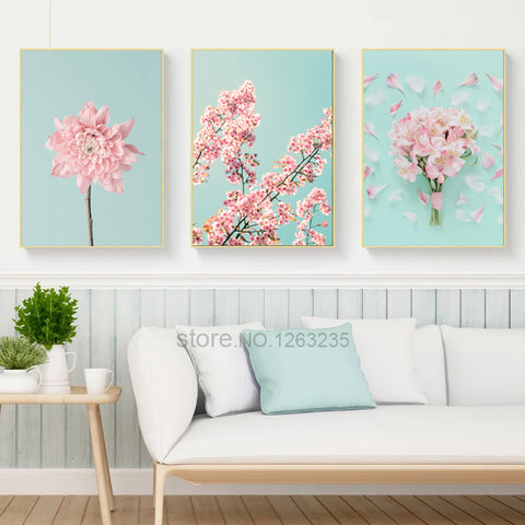 Pink Cherry Blossoms Nordic Poster Flowers Wall Art Canvas Painting Posters And Prints Wall Pictures For Living Room Unframed